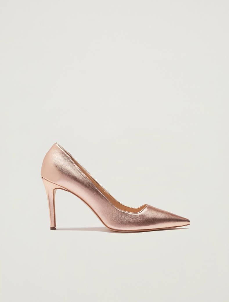 Court shoes in metallic leather - beige - pennyblack