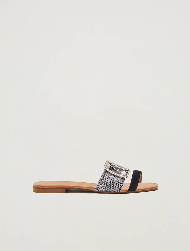 Leather slippers with buckle - black - pennyblack