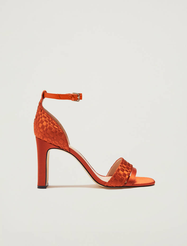 Sandals in woven satin - orange - pennyblack