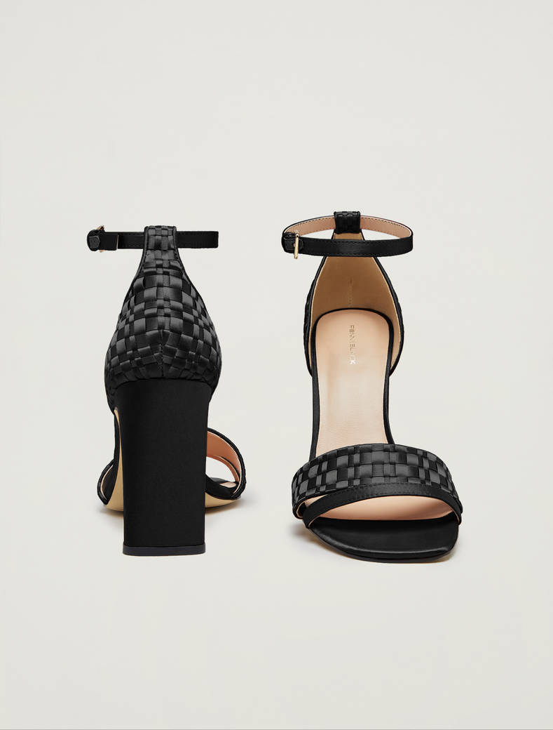 Sandals in woven satin - black - pennyblack