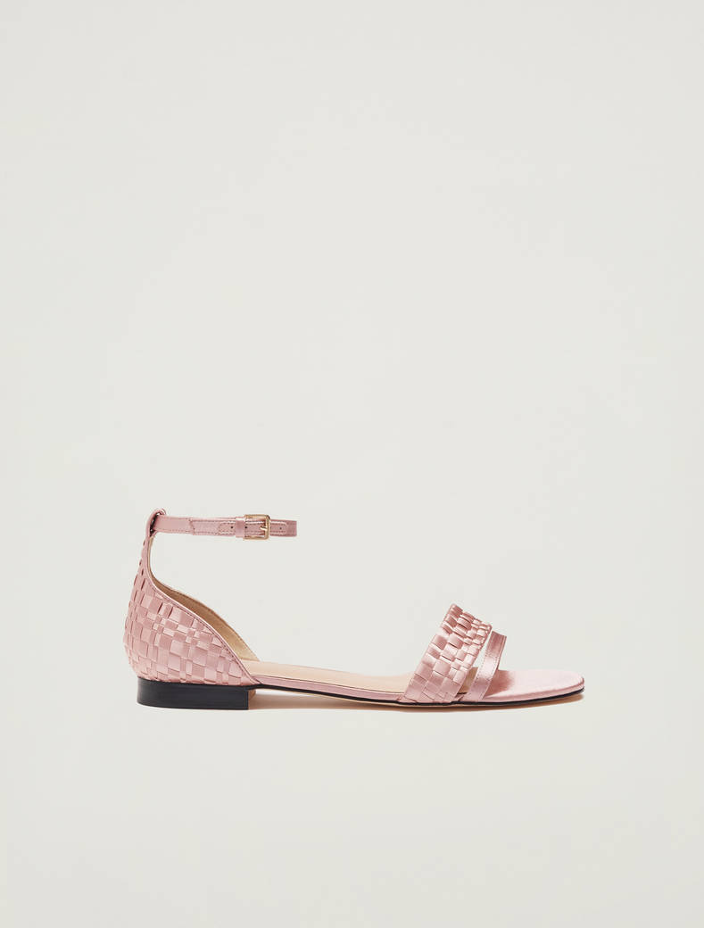 Sandals in woven satin - powder pink - pennyblack