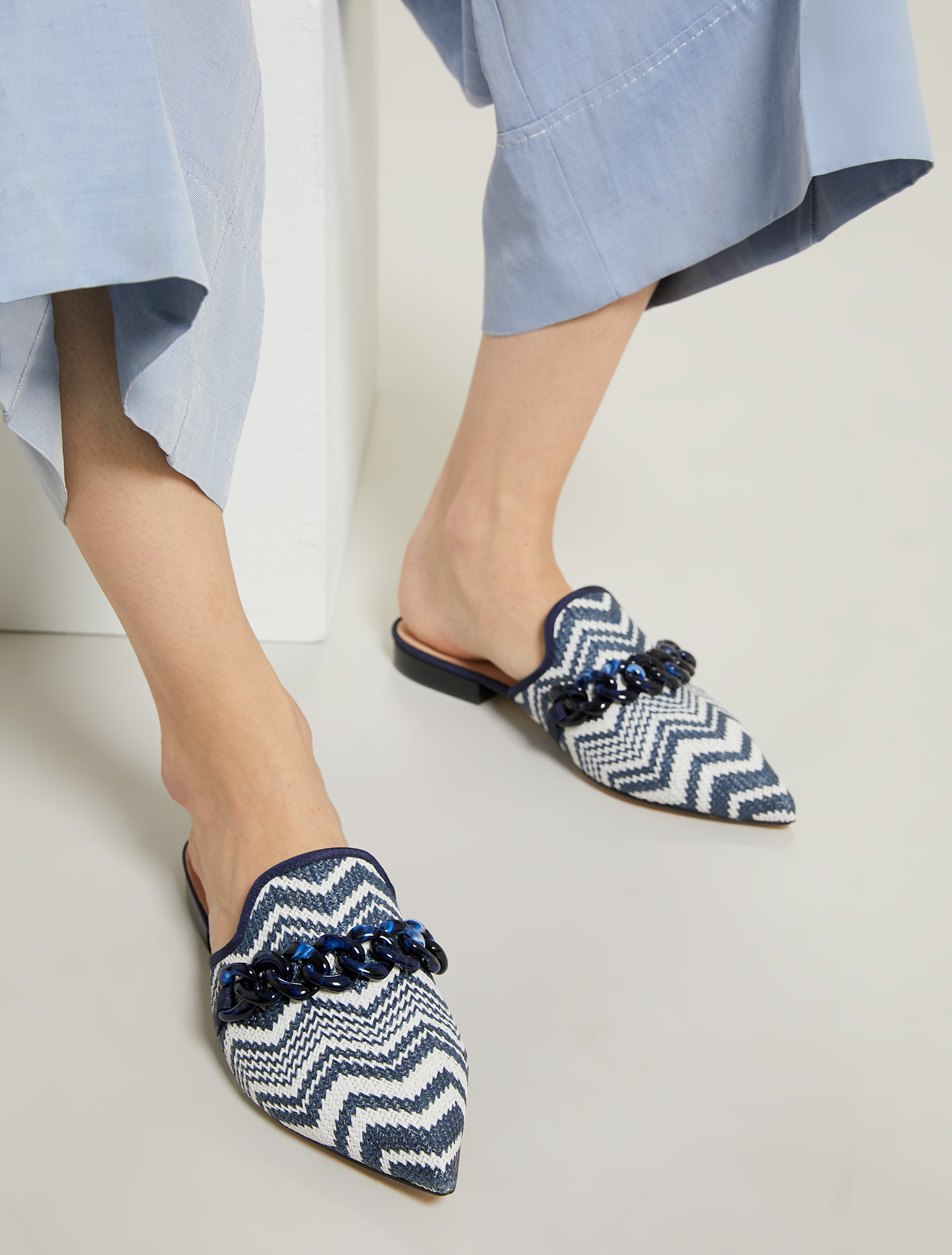 Raffia mules with chain - air force blue - pennyblack