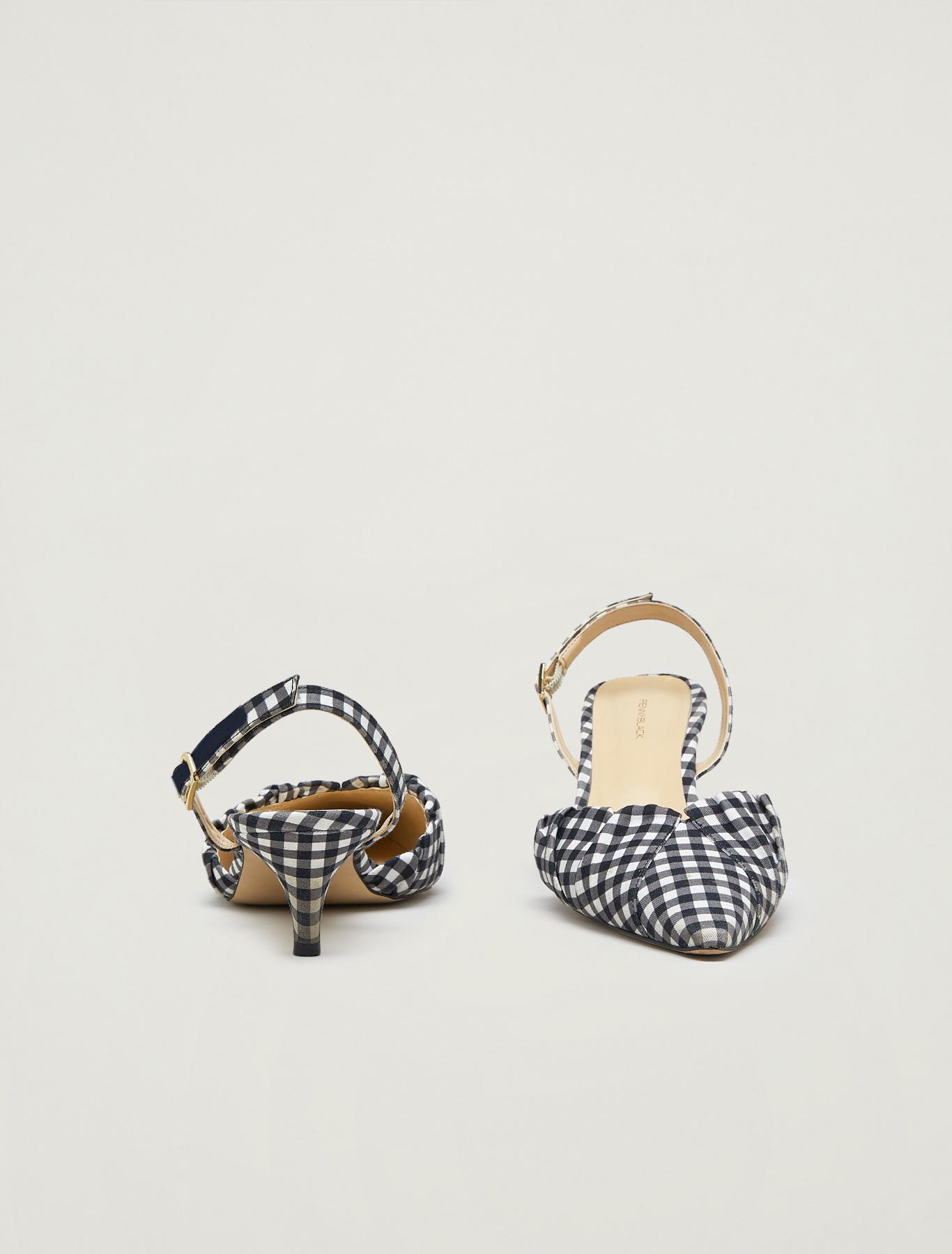 Printed fabric slingbacks - ivory - pennyblack