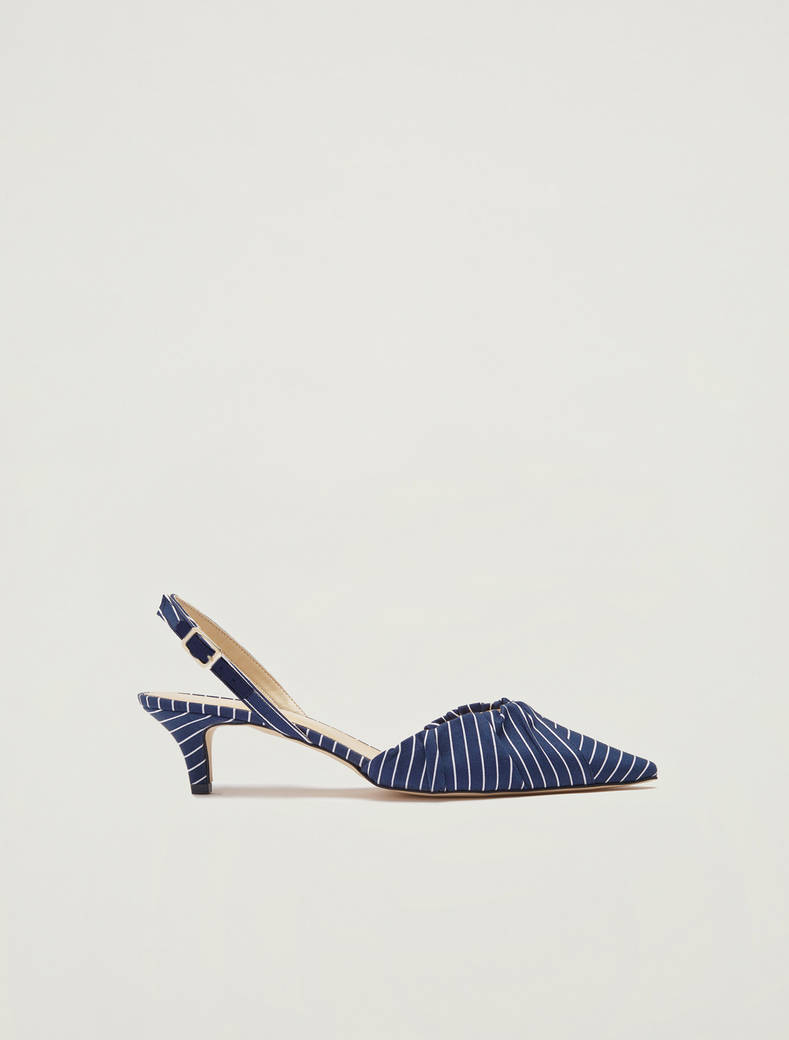 Printed fabric slingbacks - air force blue - pennyblack