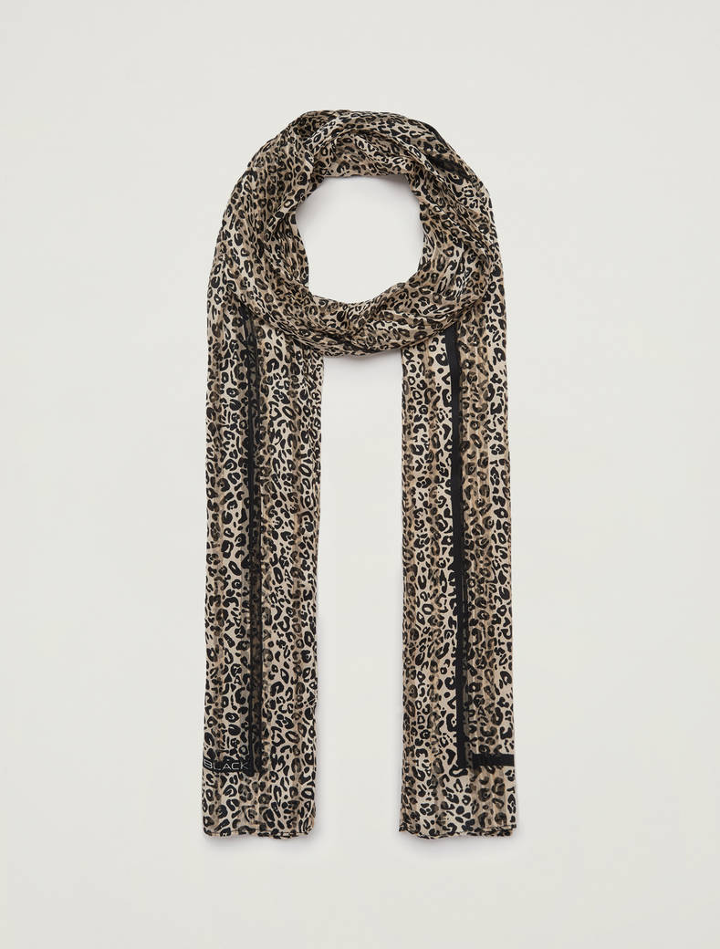Lamé printed scarf - beige - pennyblack