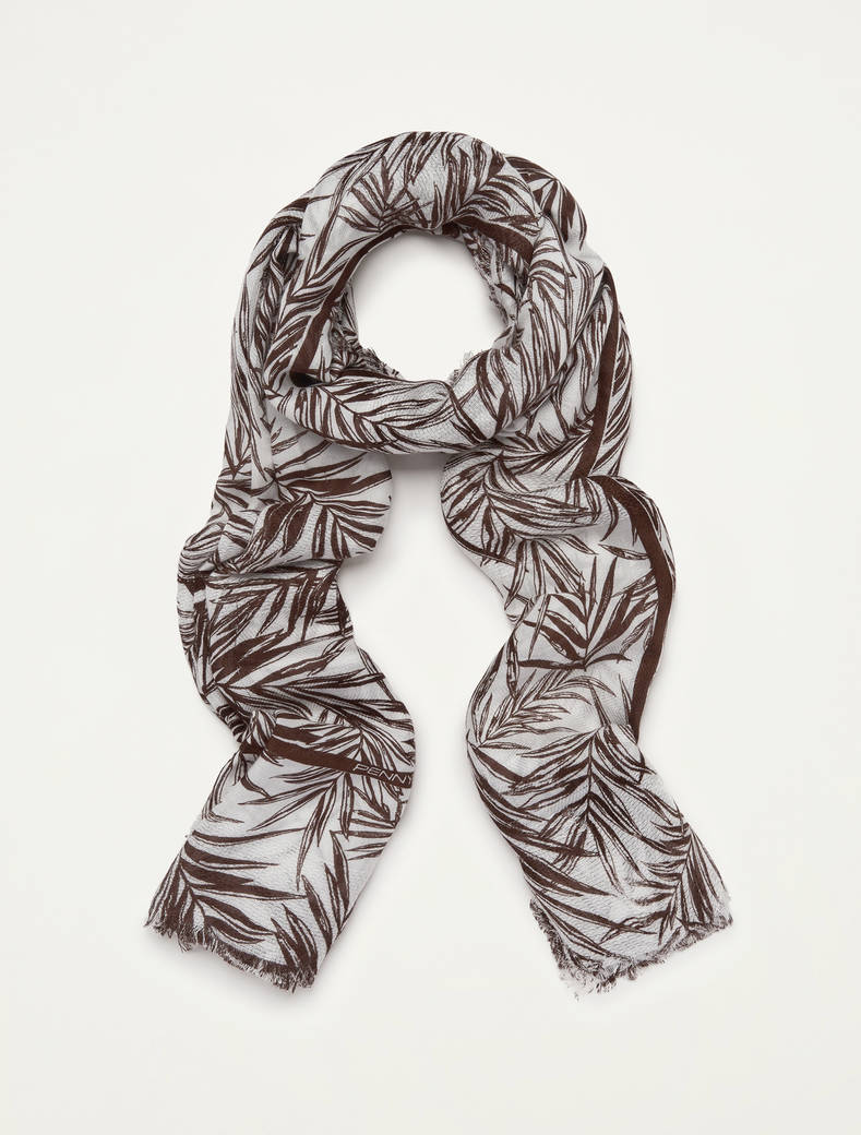 Printed flowing scarf - brown - pennyblack
