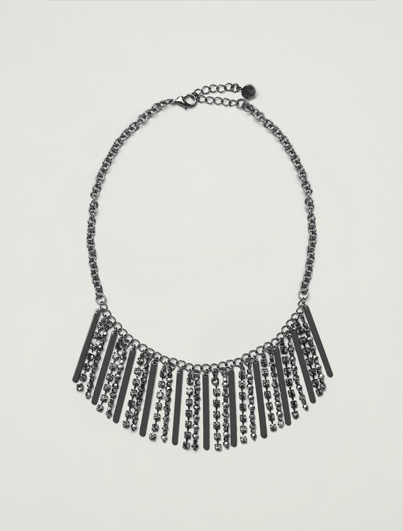Collana con strass e baguette - grigio chiaro - pennyblack