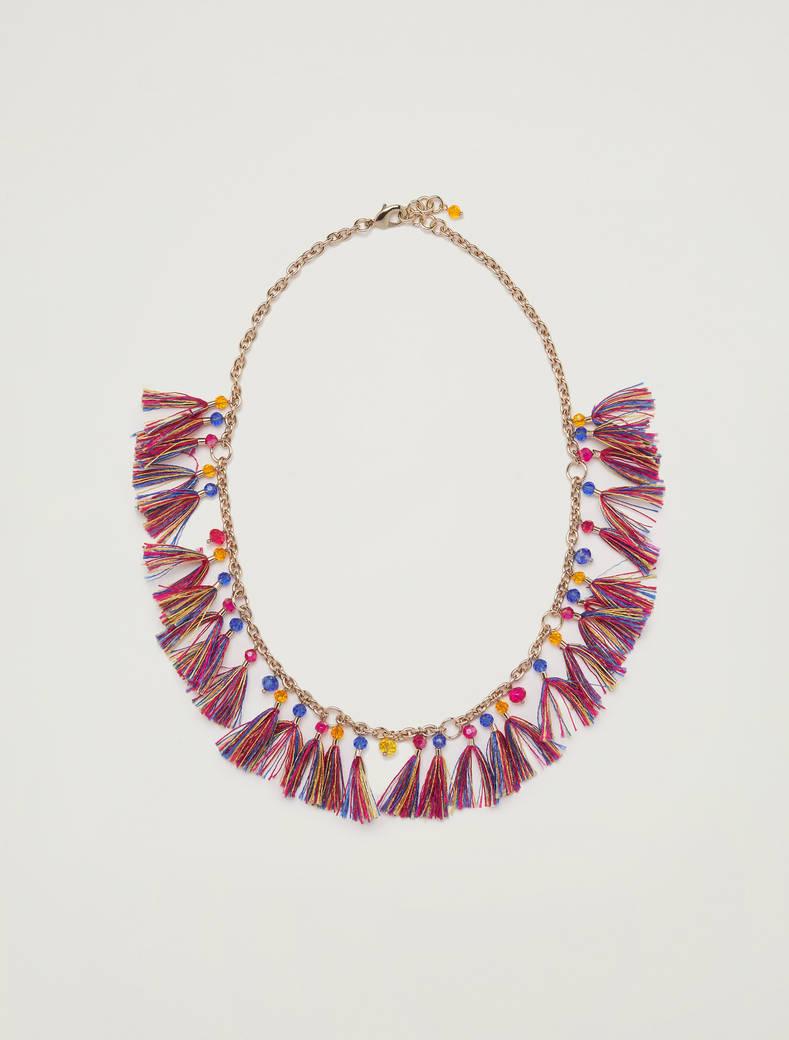 Necklace with tassels - navy blue - pennyblack