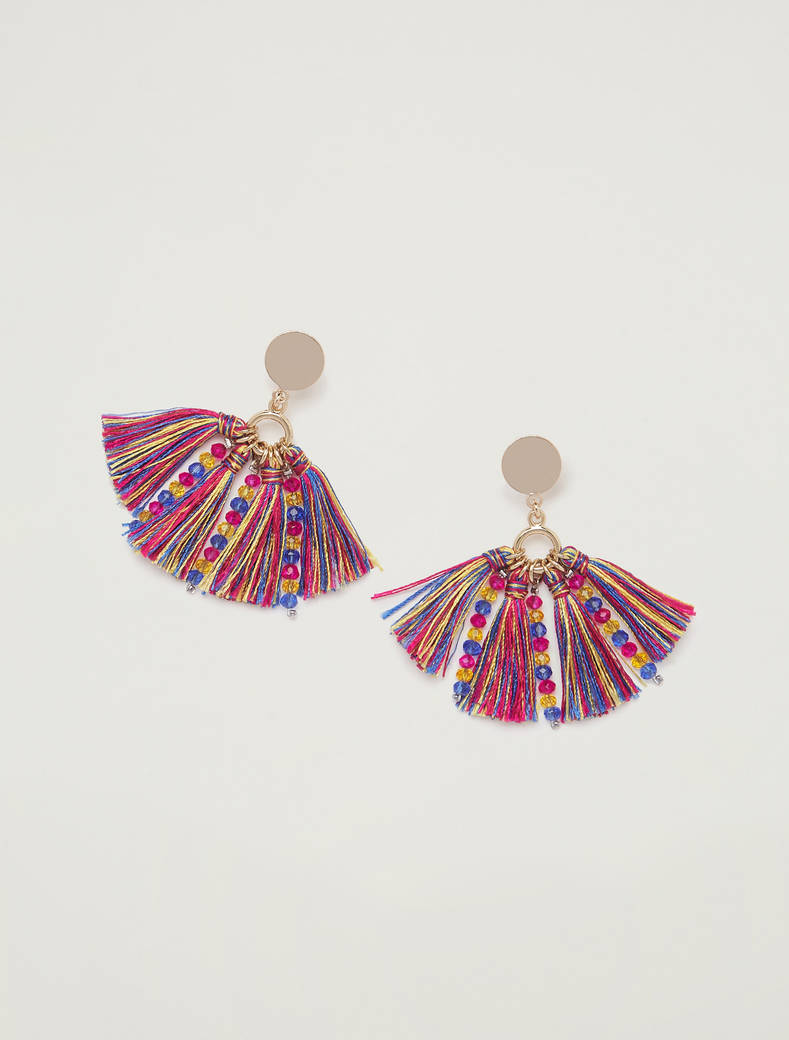 Earrings with tassels - navy blue - pennyblack
