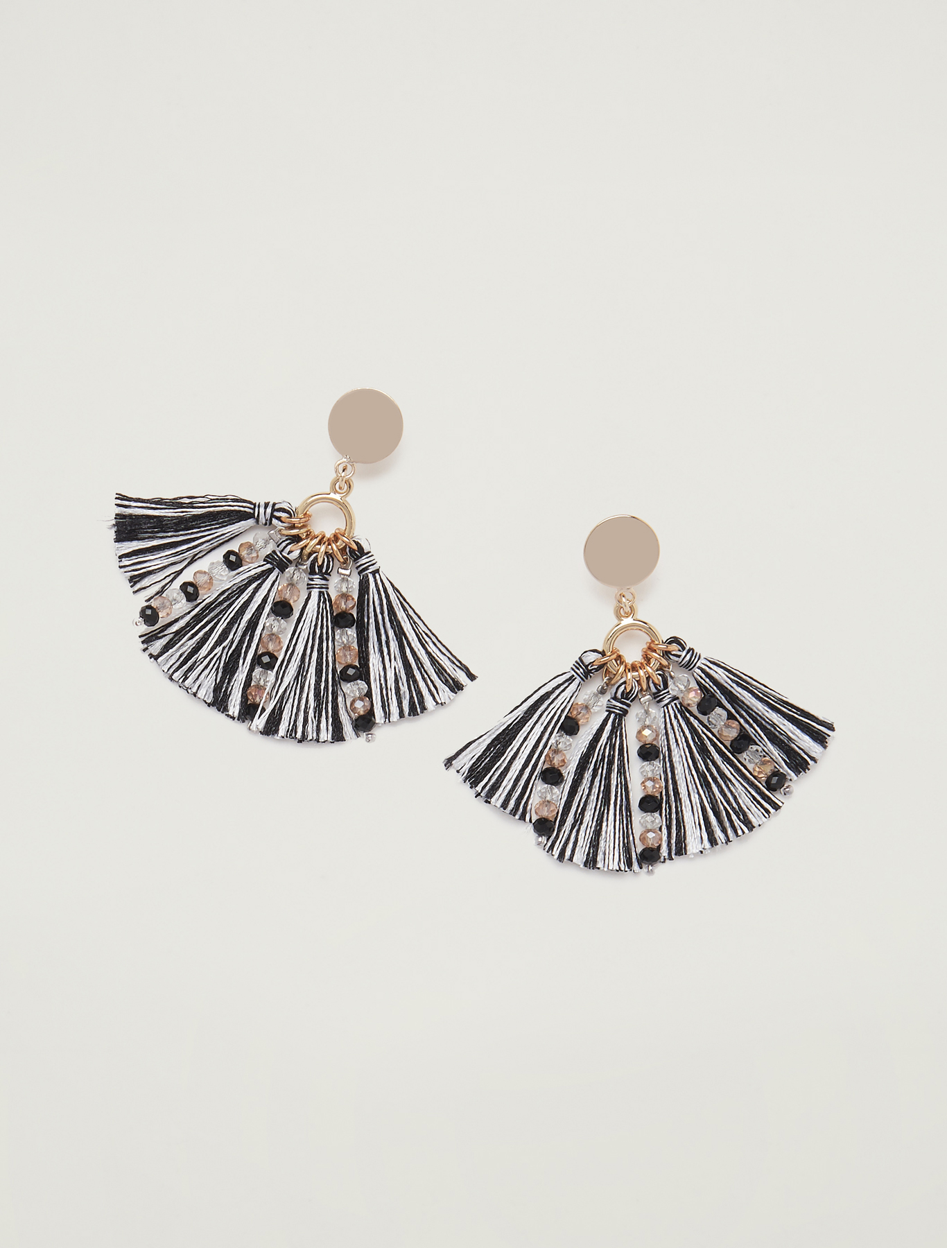 Earrings with tassels - black - pennyblack