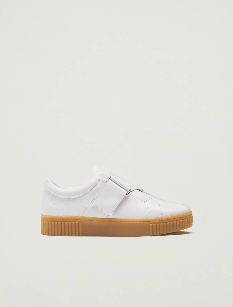 Leather trainers with buckle - white - pennyblack