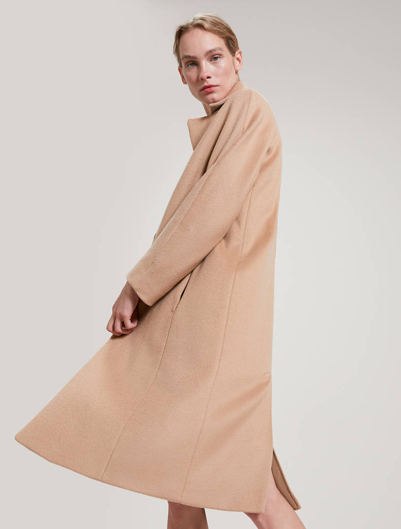 Alpaca and wool coat - camel - pennyblack