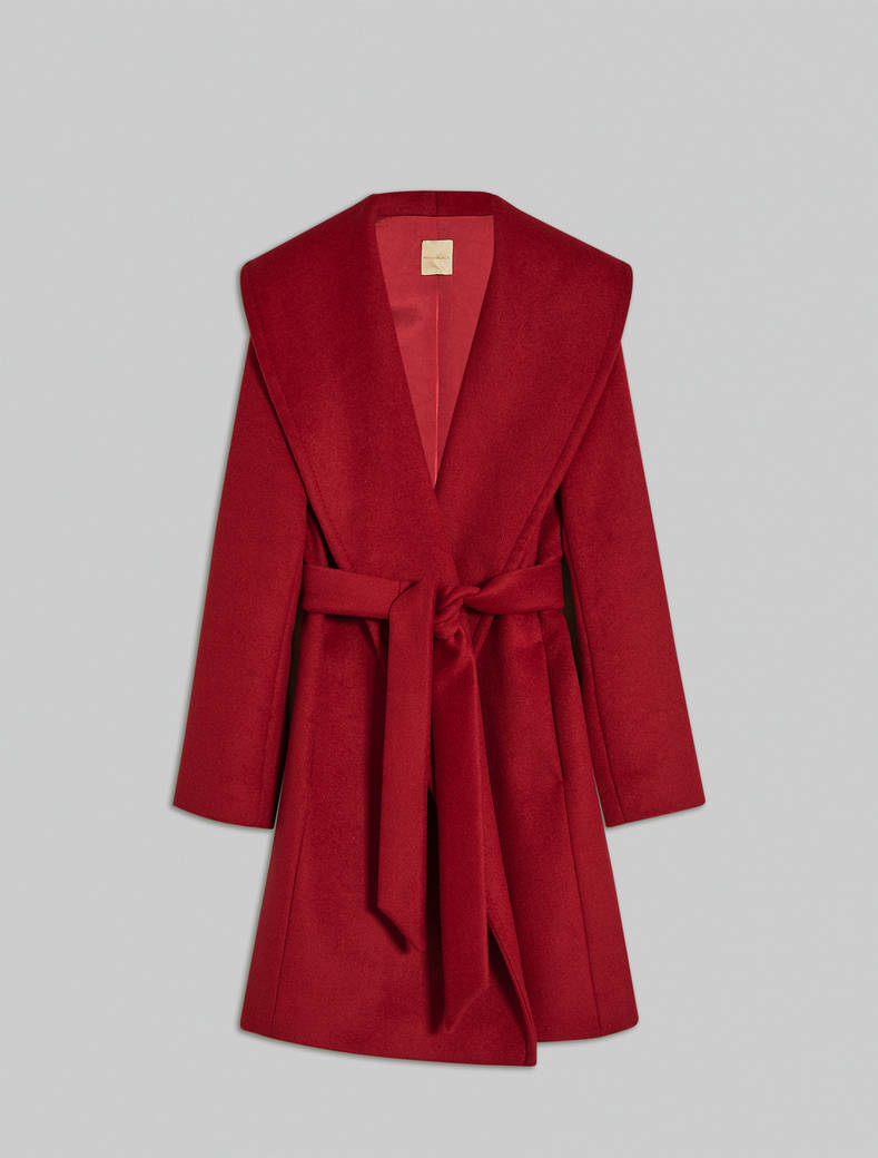 Alpaca and wool coat - burgundy - pennyblack