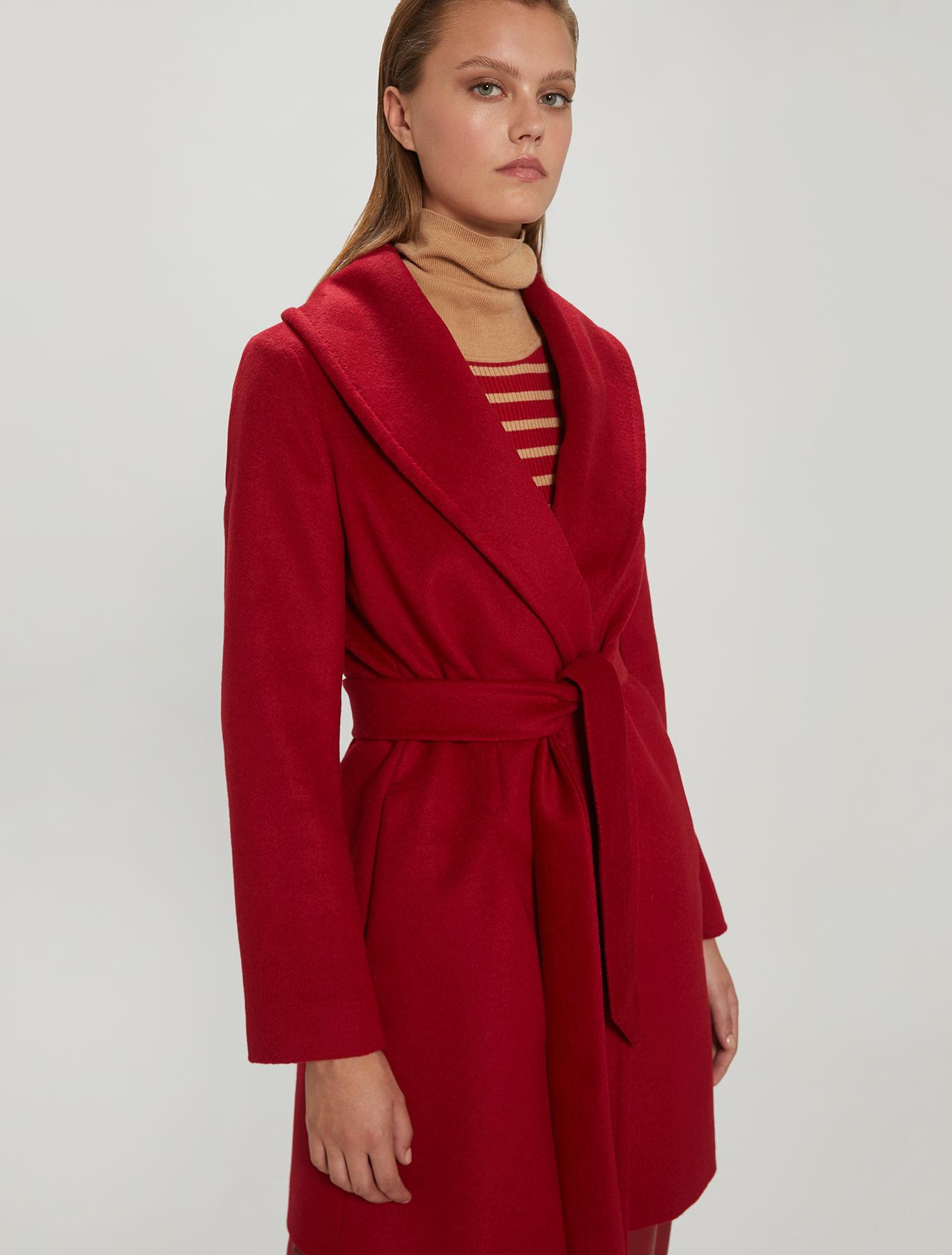 Alpaca and wool coat - burgundy - pennyblack