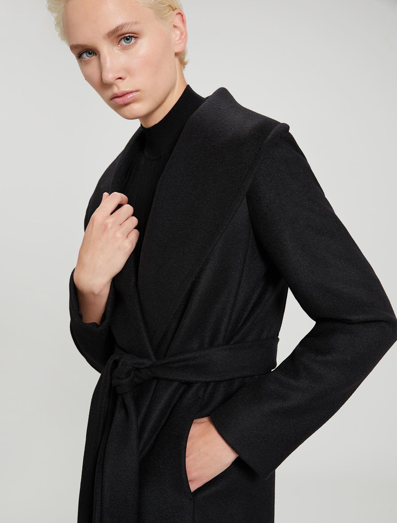 Alpaca and wool coat - black - pennyblack