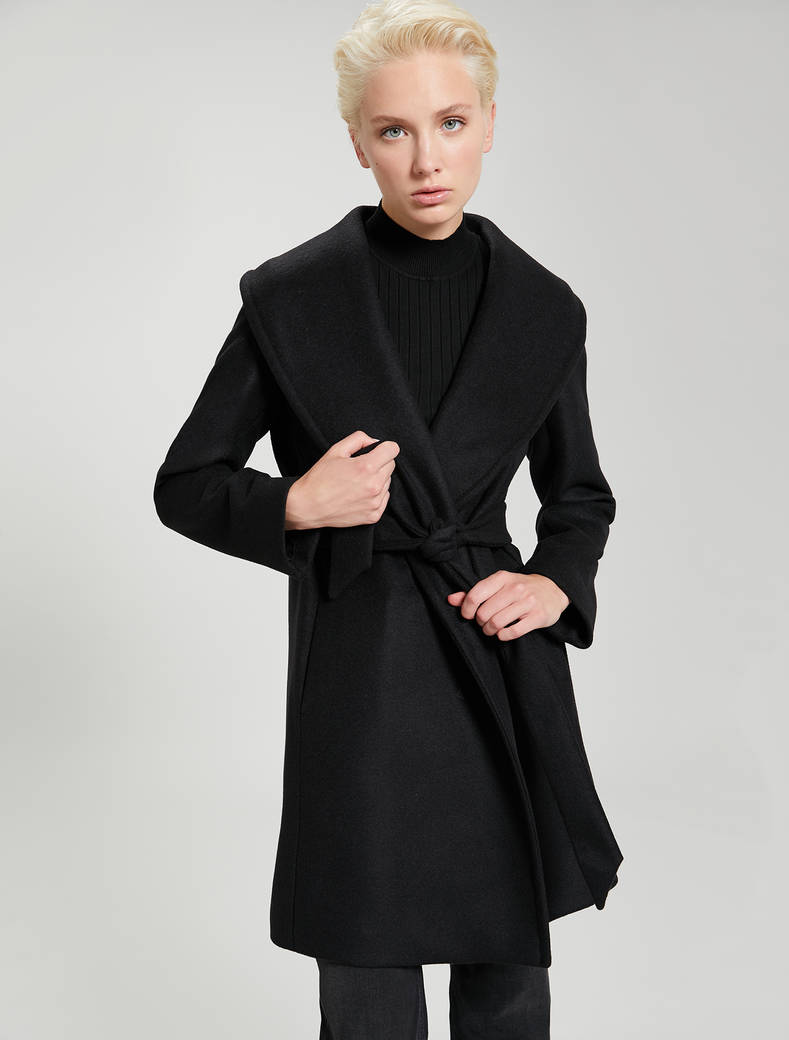 Alpaca and wool coat - black - pennyblack