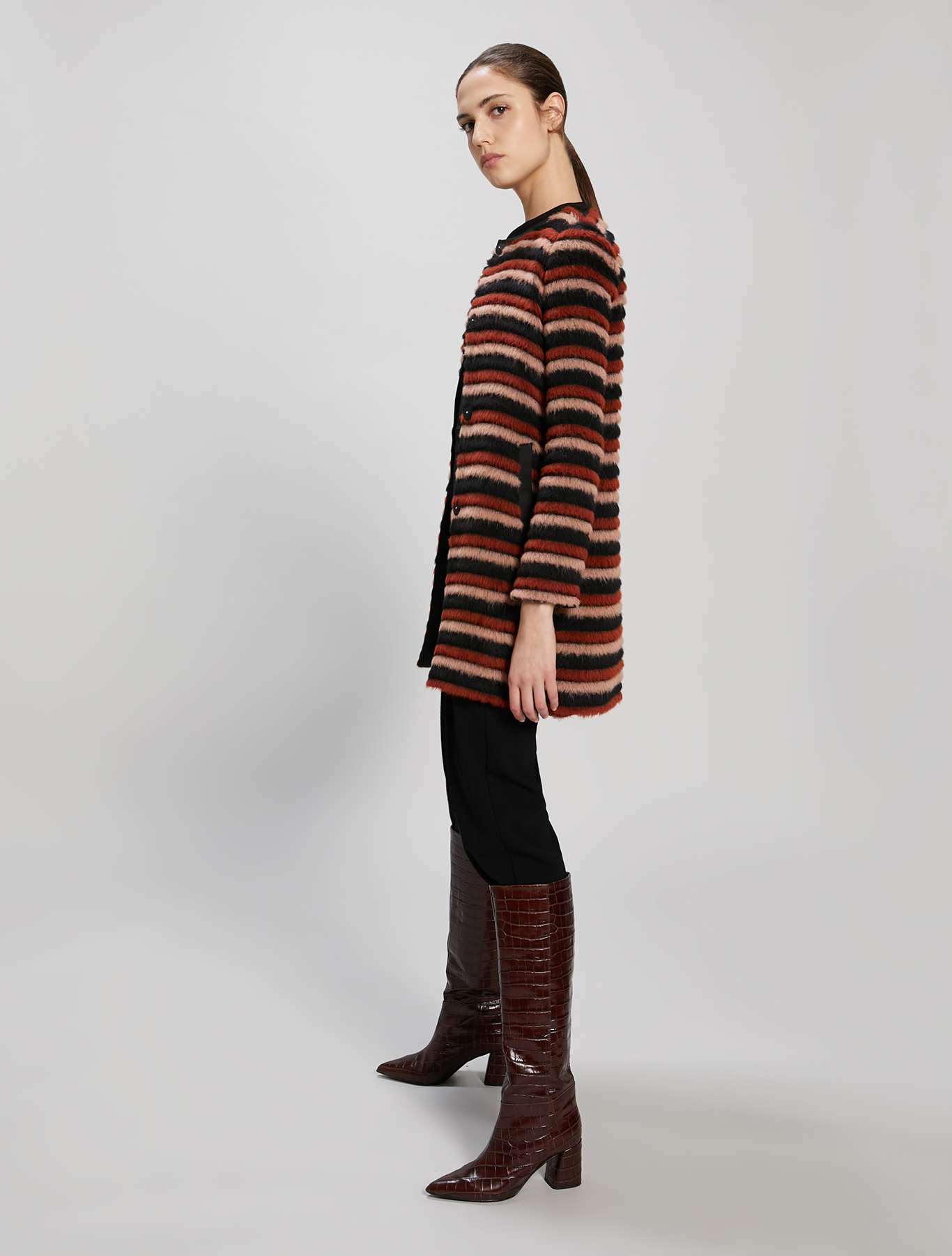 3D striped coat - cocoa pattern - pennyblack