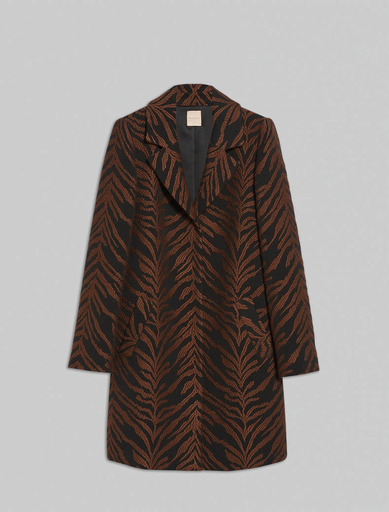 Tiger-striped jacquard coat - cocoa pattern - pennyblack