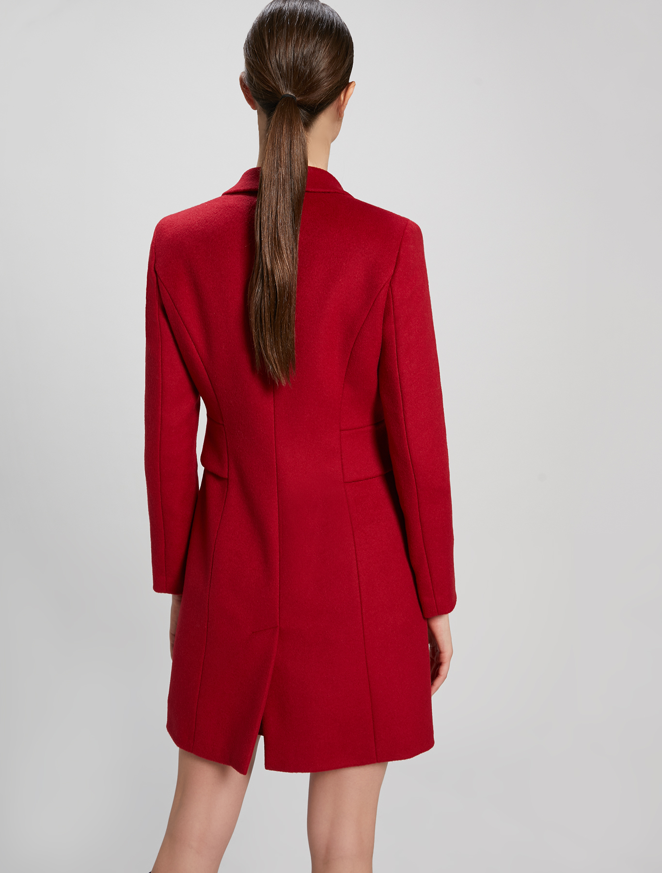 Wool and alpaca slim coat - burgundy - pennyblack