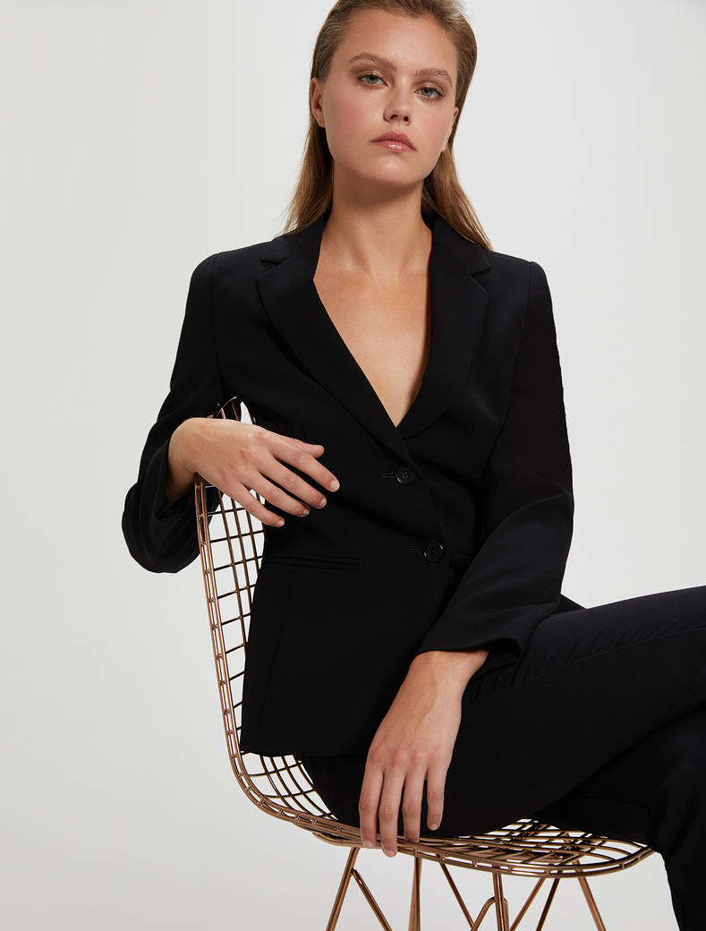 Fluid two-button blazer - black - pennyblack