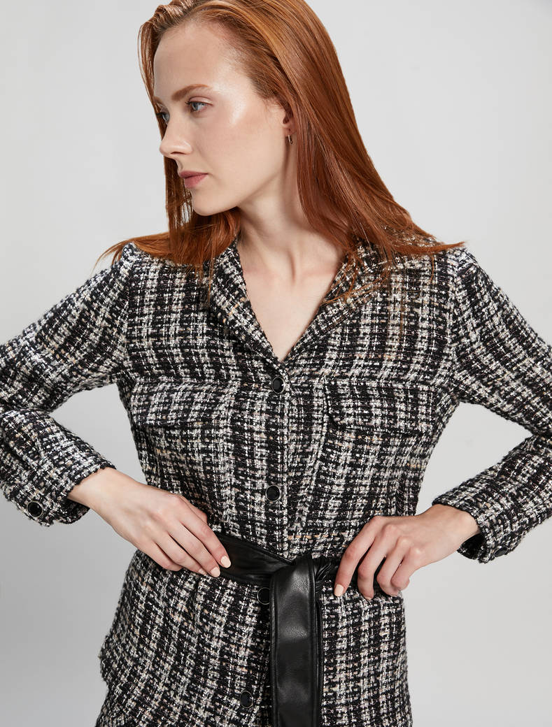 Basketweave lamé jacket - black pattern - pennyblack
