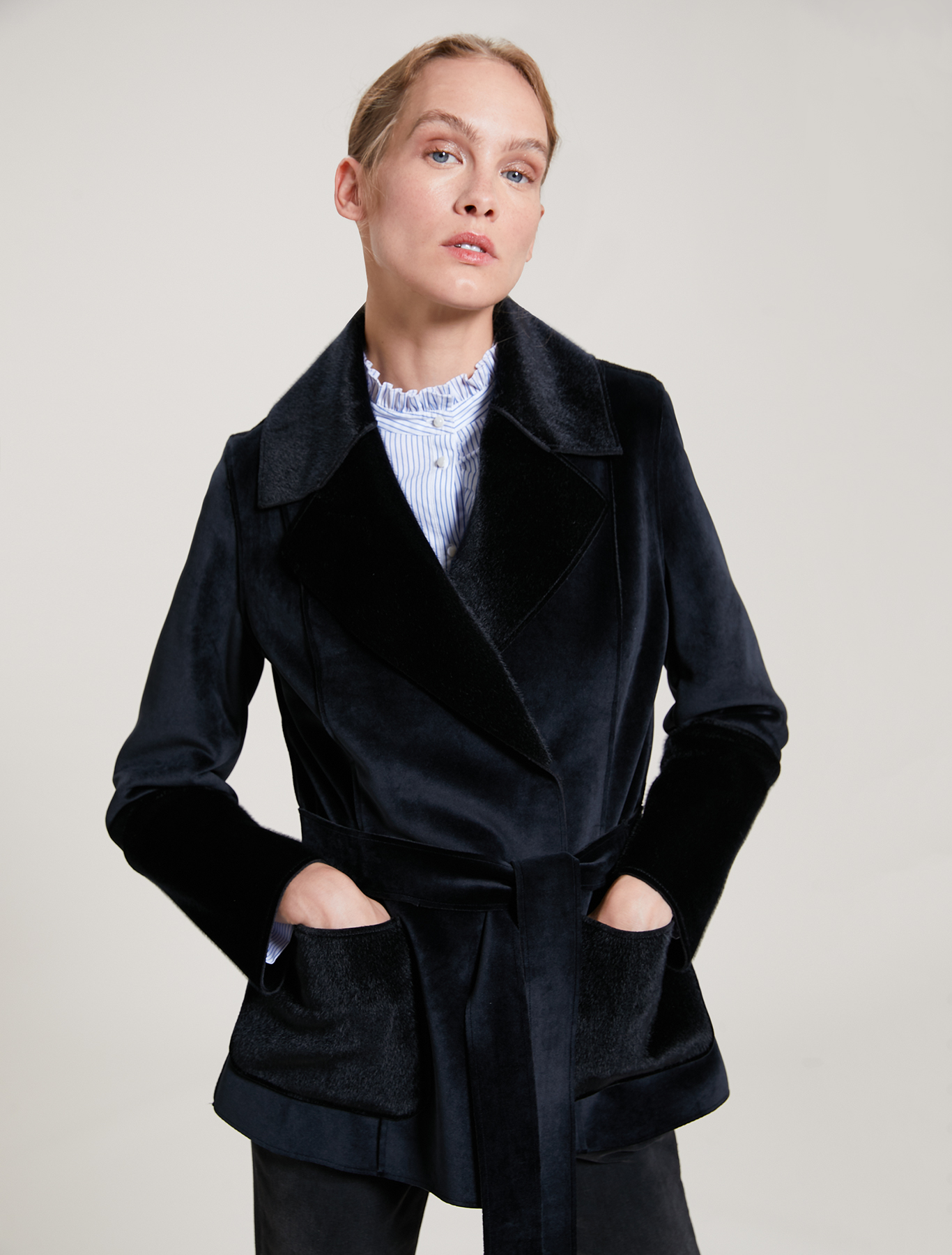 Velvet and plush pea coat - black - pennyblack