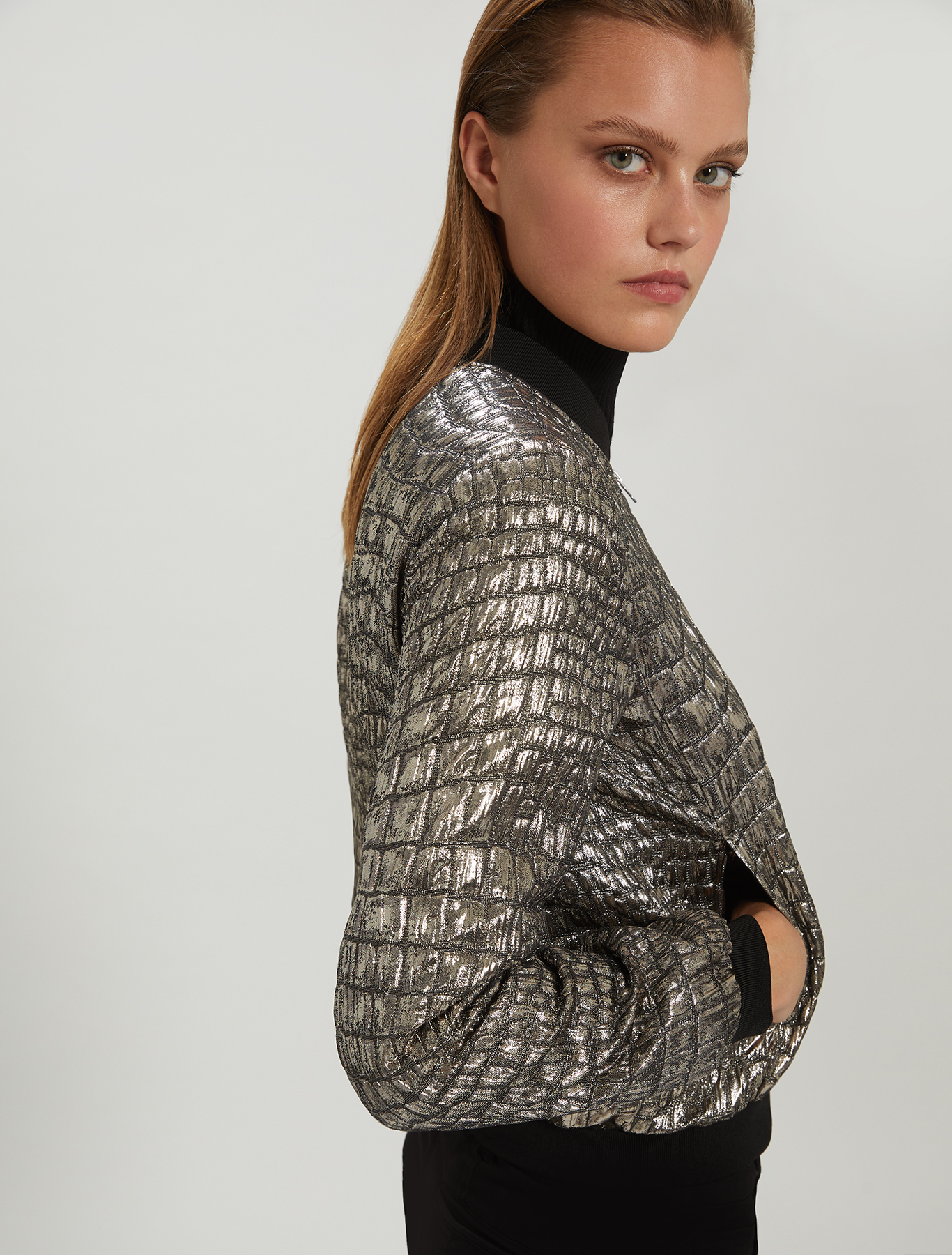 Crocodile lamé bomber jacket - silver - pennyblack