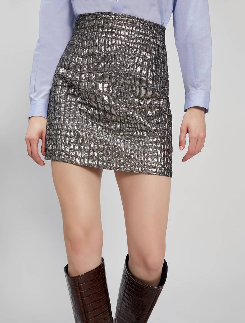 Croc-effect lamé skirt - silver - pennyblack