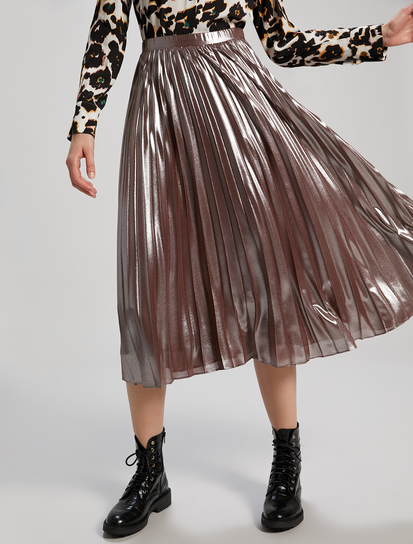 Skirt in metallic georgette - cocoa - pennyblack