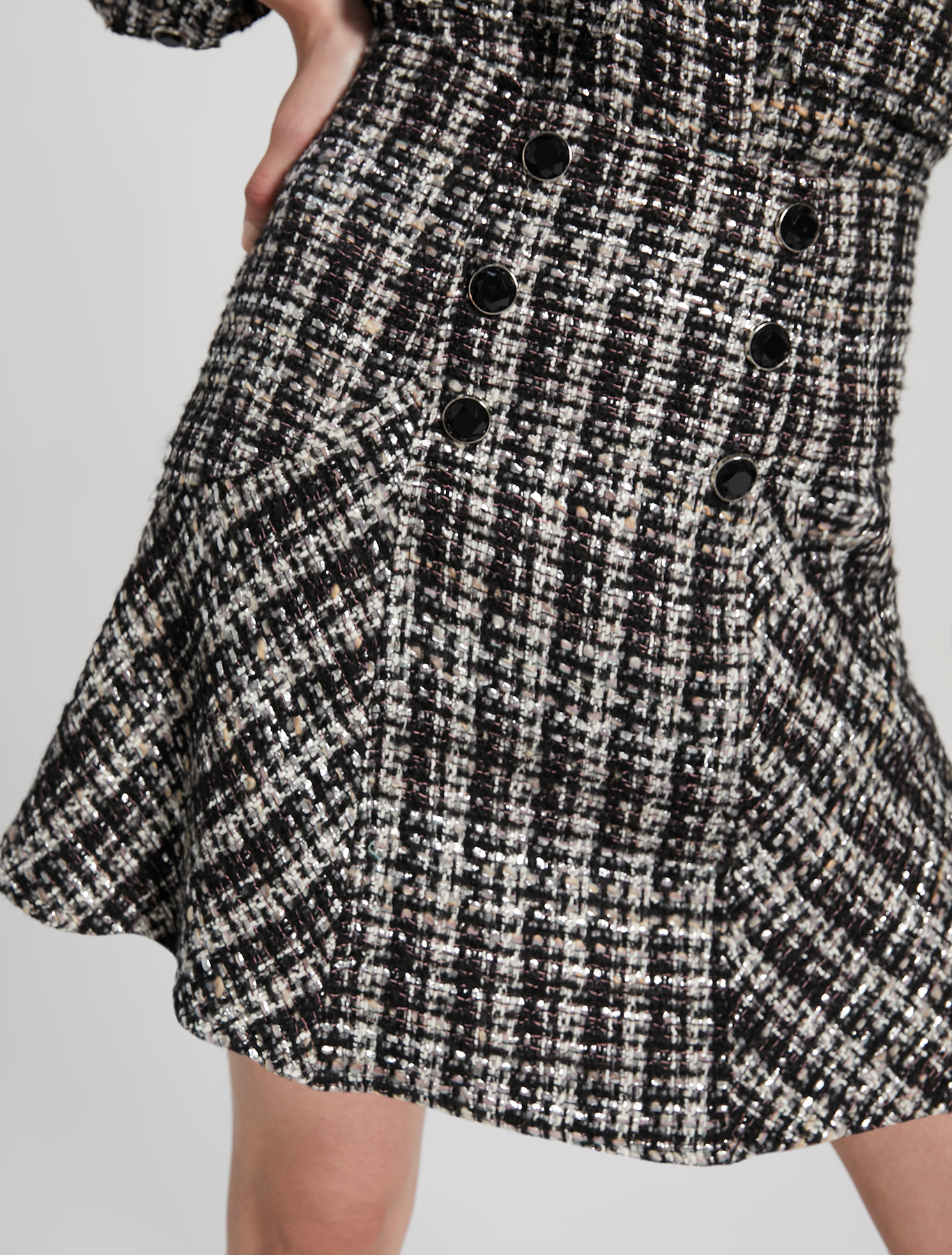 Basketweave lamé skirt - black pattern - pennyblack