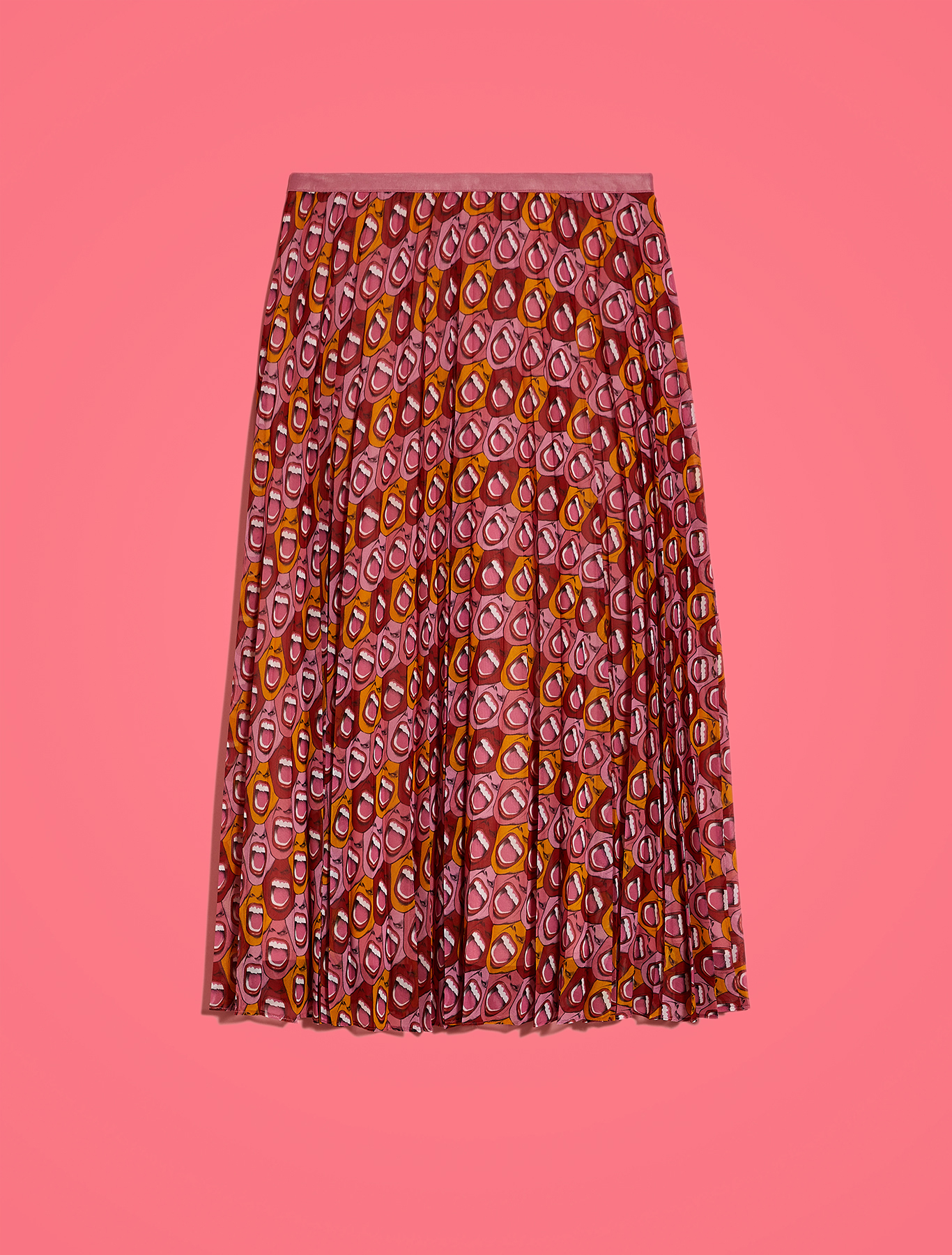 Electric Feel by Spiros pleated Georgette skirt - red pattern - pennyblack