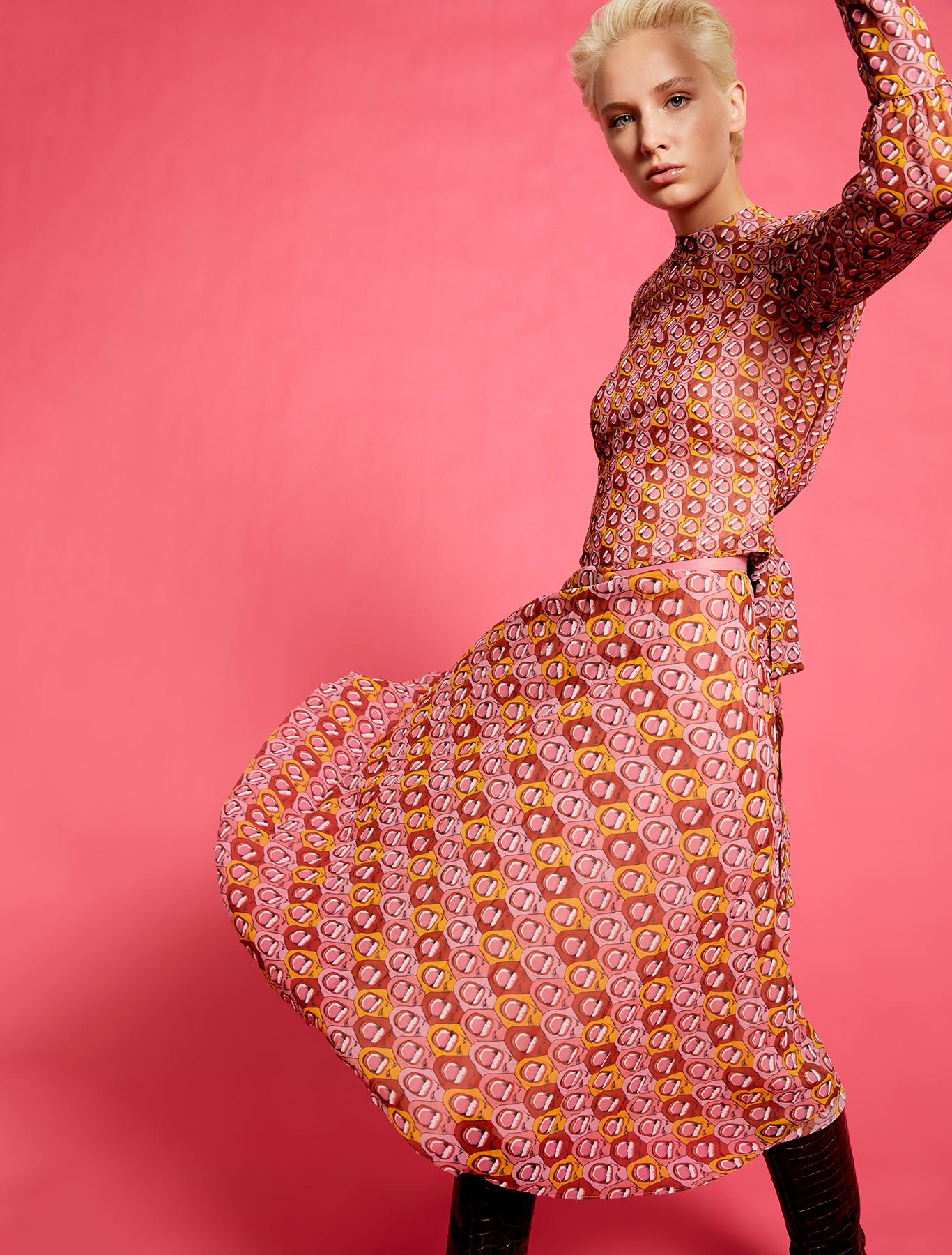 Electric Feel by Spiros Halaris pleated Georgette skirt - red pattern - pennyblack
