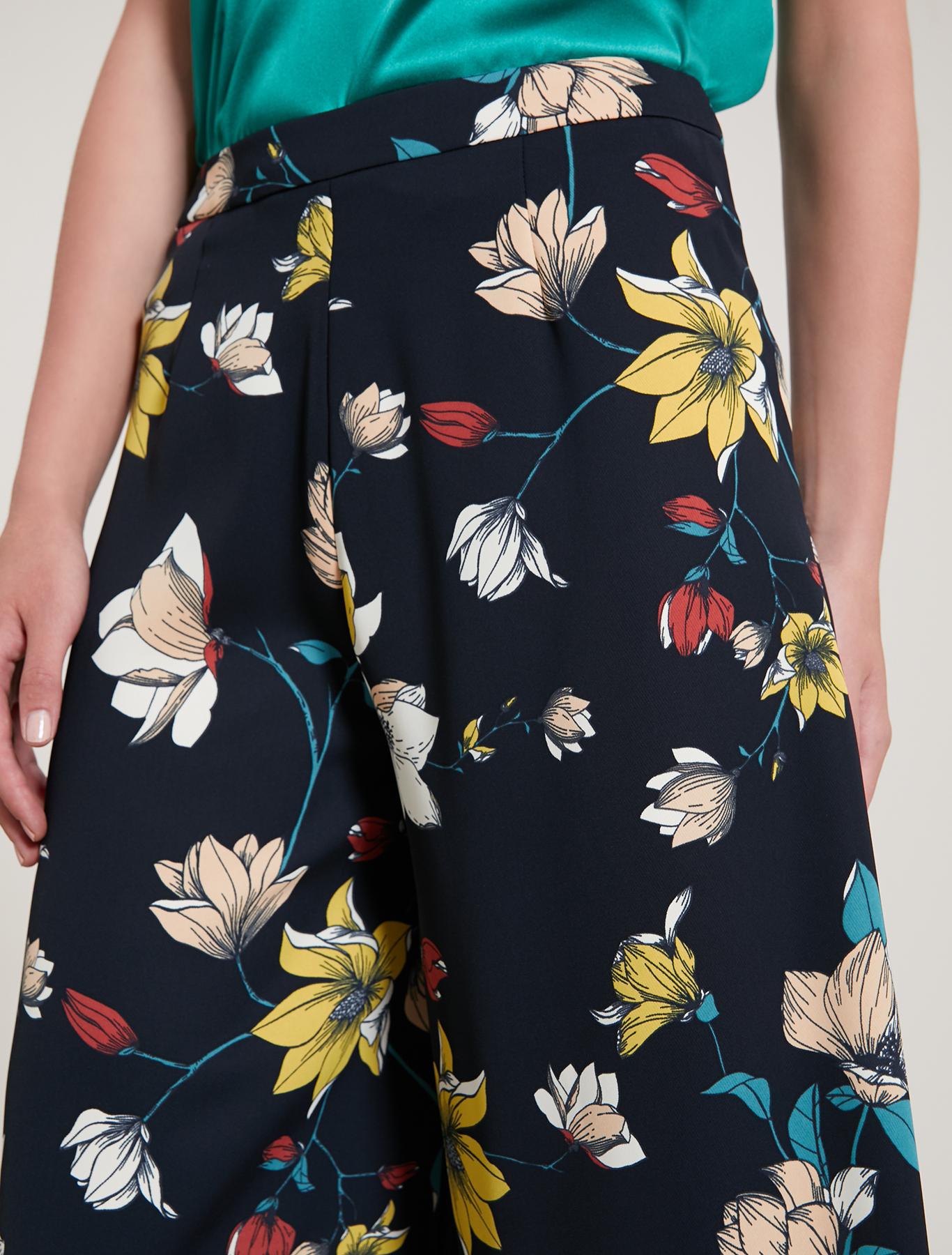 Floral cady culottes - navy blue pattern - pennyblack