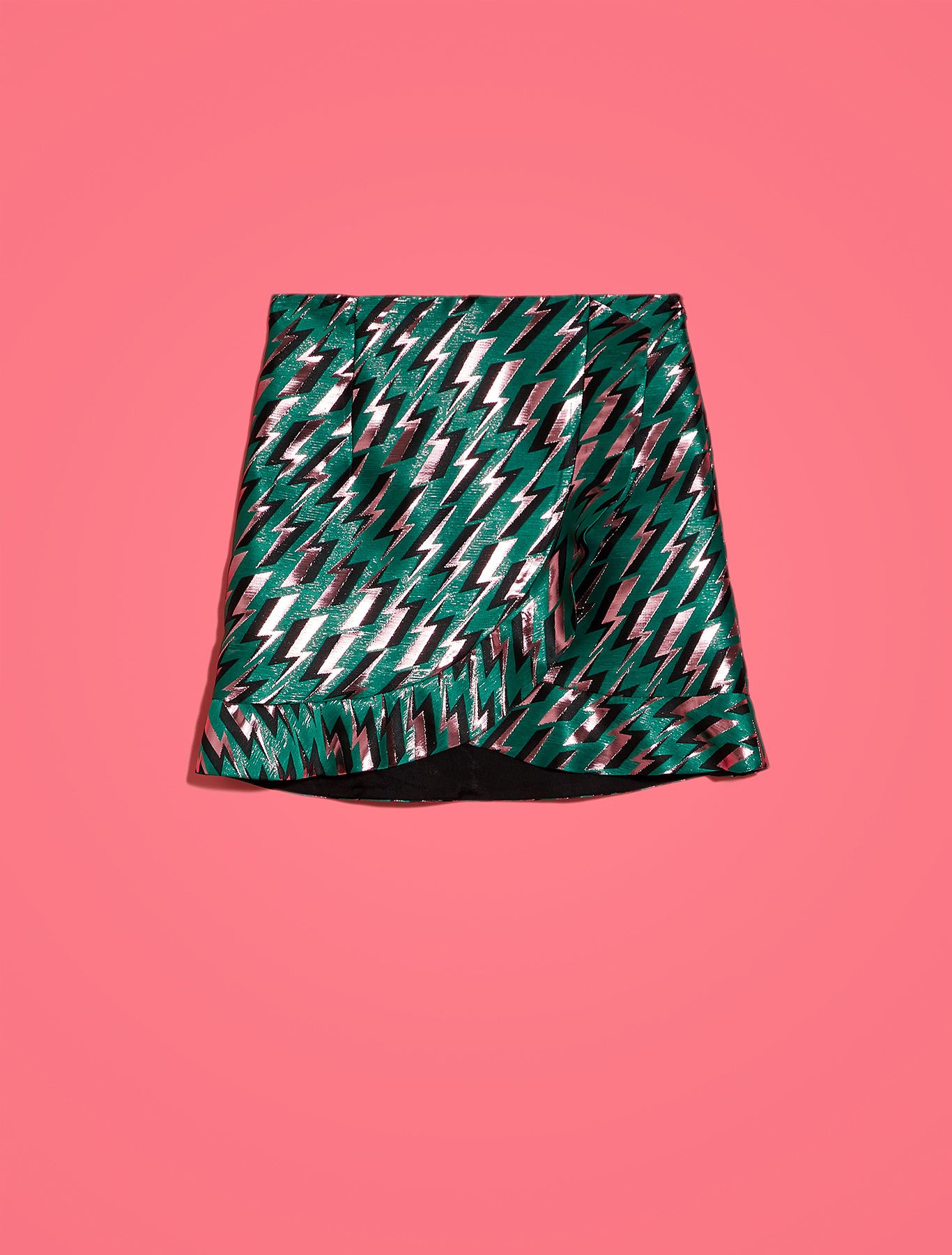 Electric Feel by Spiros Halaris lamé skirt - green pattern - pennyblack