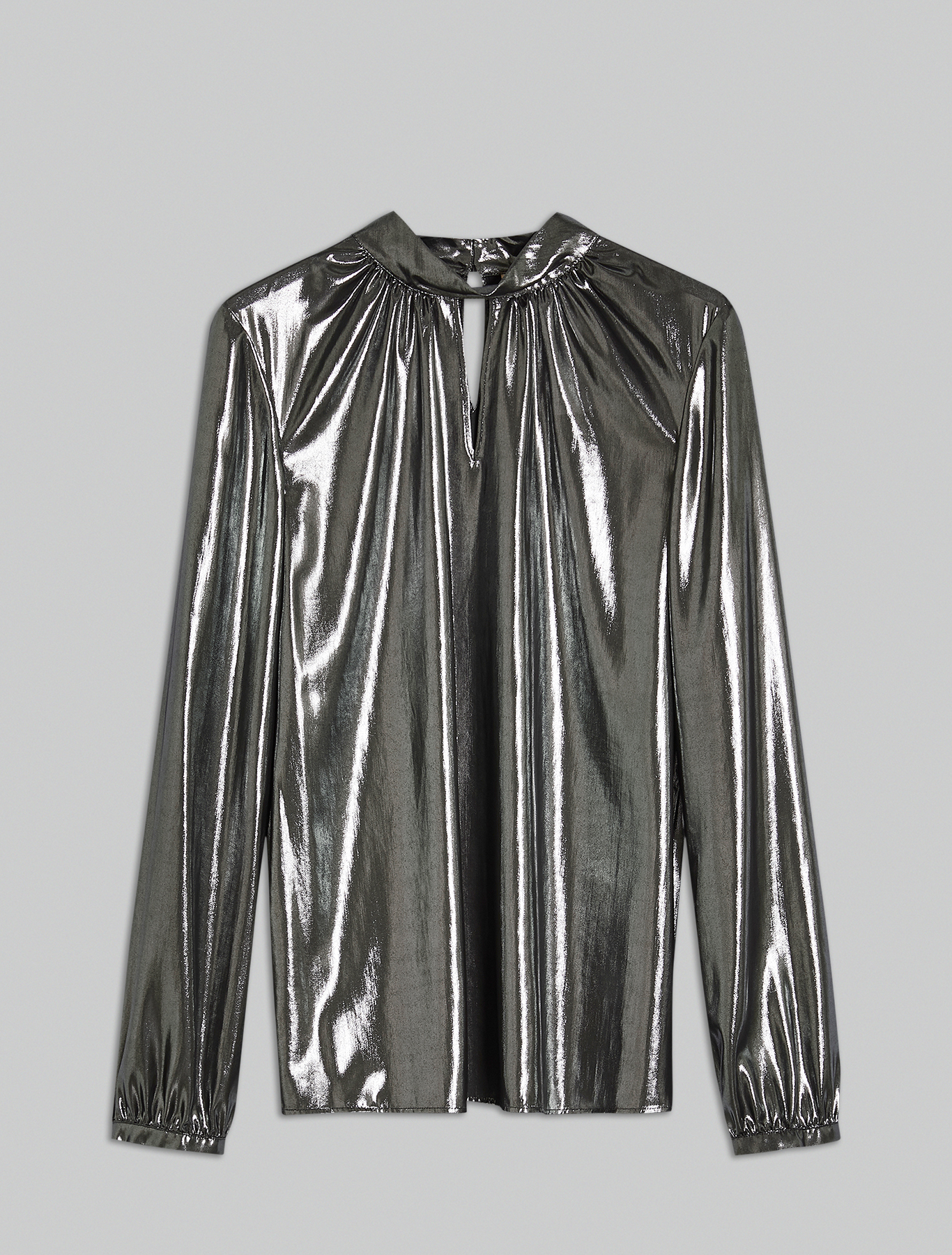 Blouse in metallic georgette - black - pennyblack