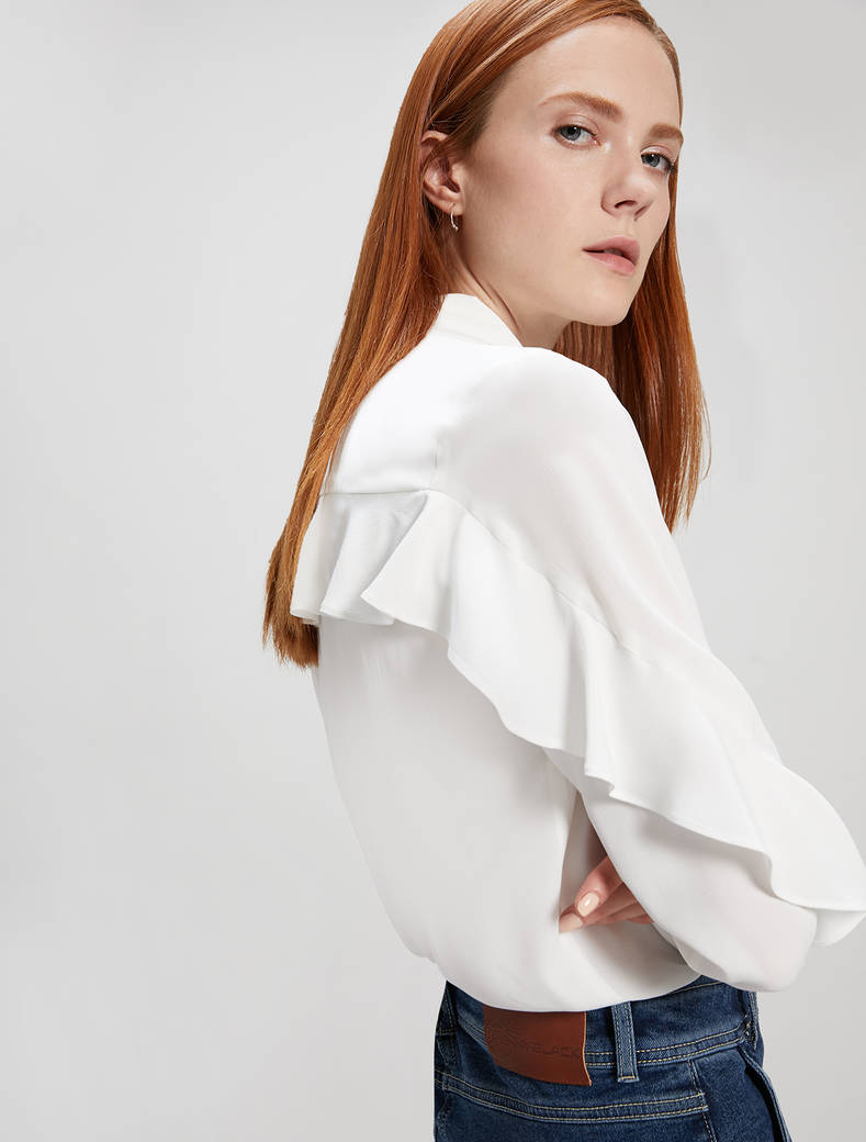 Camicia in crêpe de Chine - bianco avorio - pennyblack