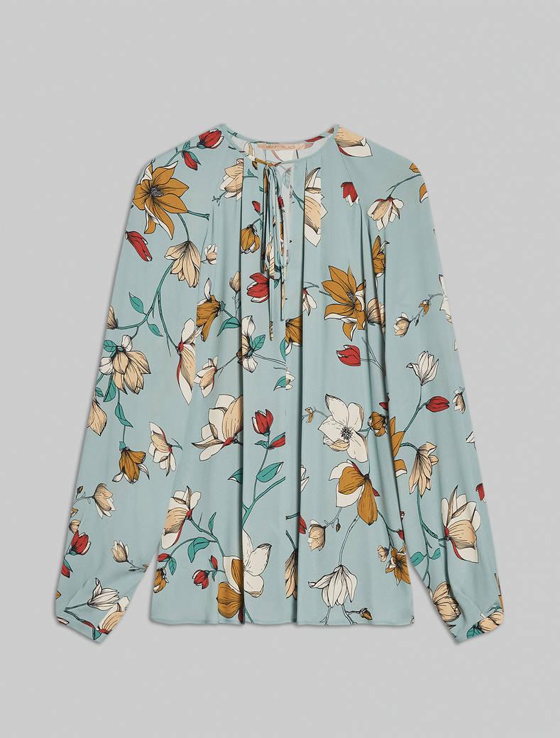 Blusa in crêpe de Chine floreale - fantasia verde pastello - pennyblack