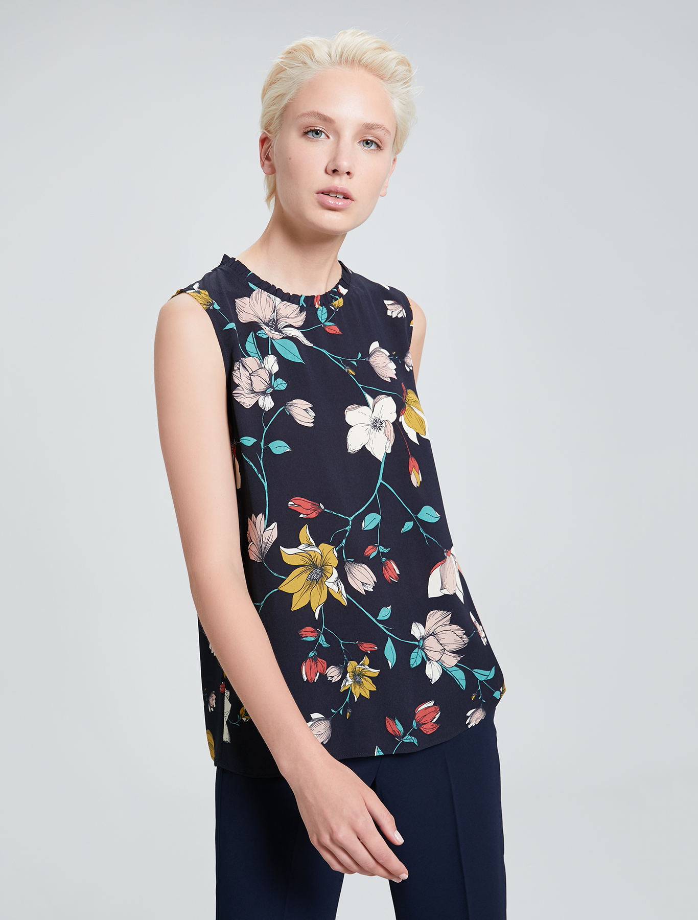 Floral crêpe de Chine top - navy blue pattern - pennyblack