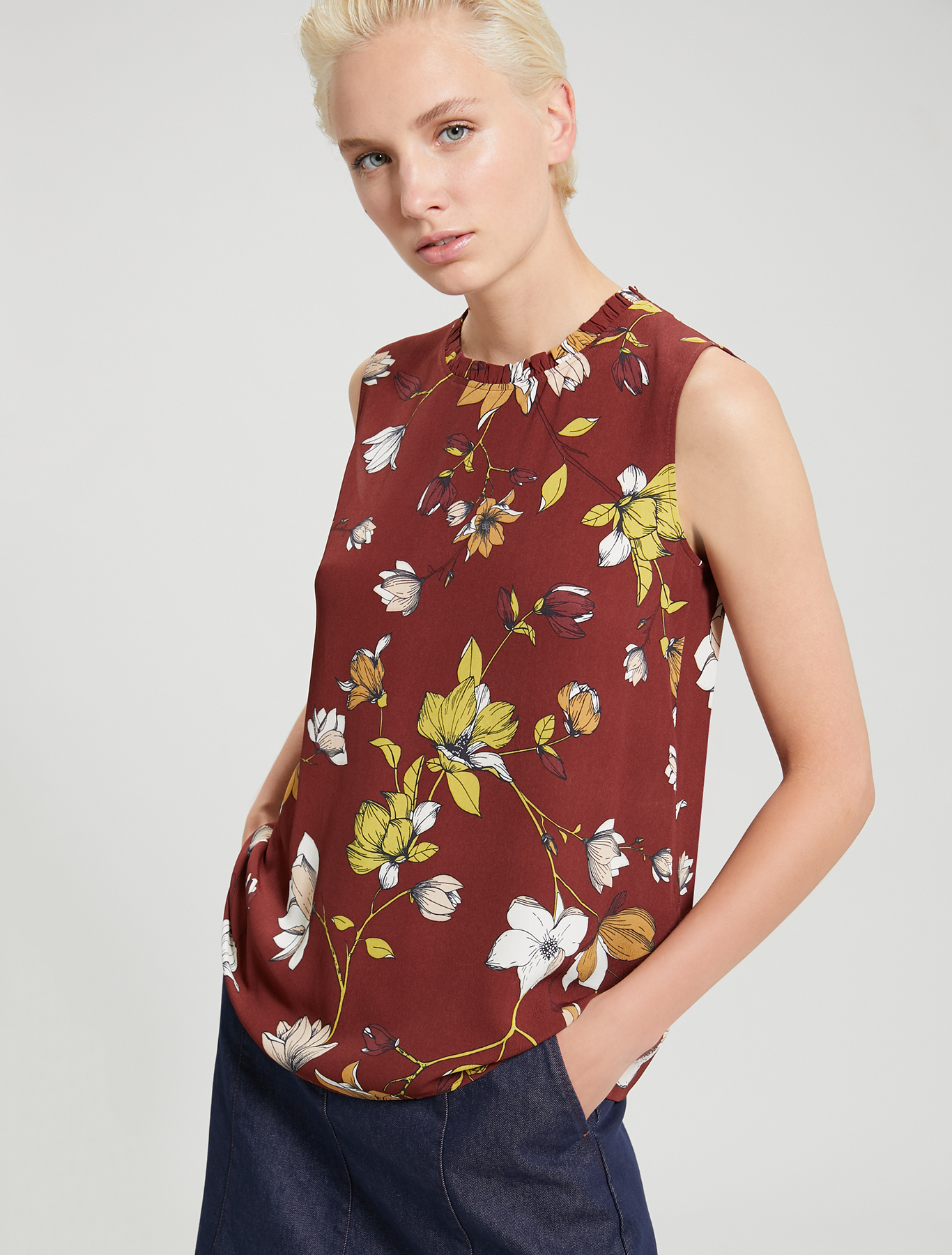 Floral crêpe de Chine top - cocoa pattern - pennyblack