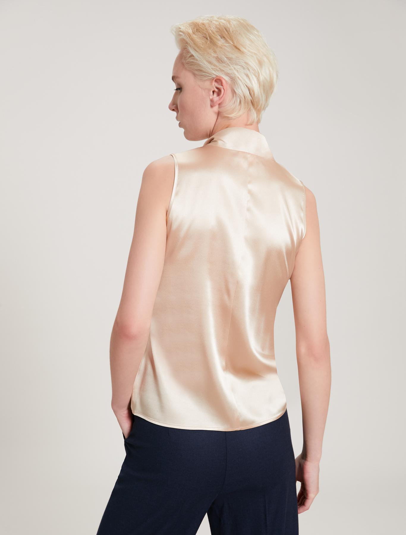 Silk satin top - beige - pennyblack