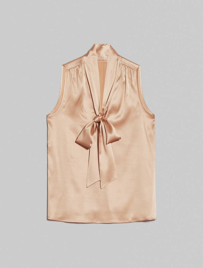 Silk satin top - beige - pennyblack
