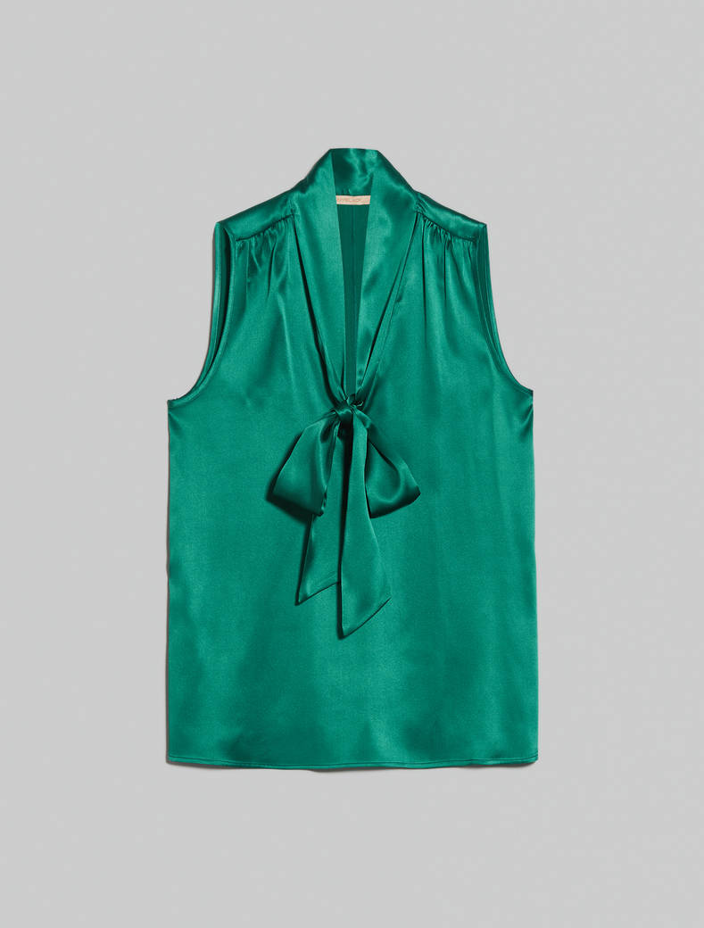 Silk satin top - emerald green - pennyblack