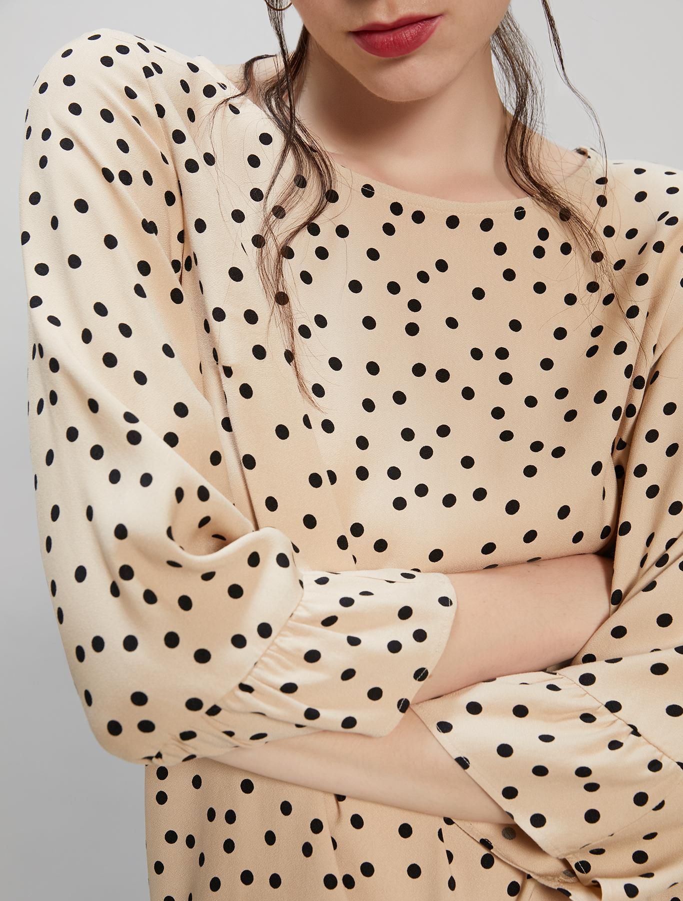 Polka dot sablé blouse - beige pattern - pennyblack