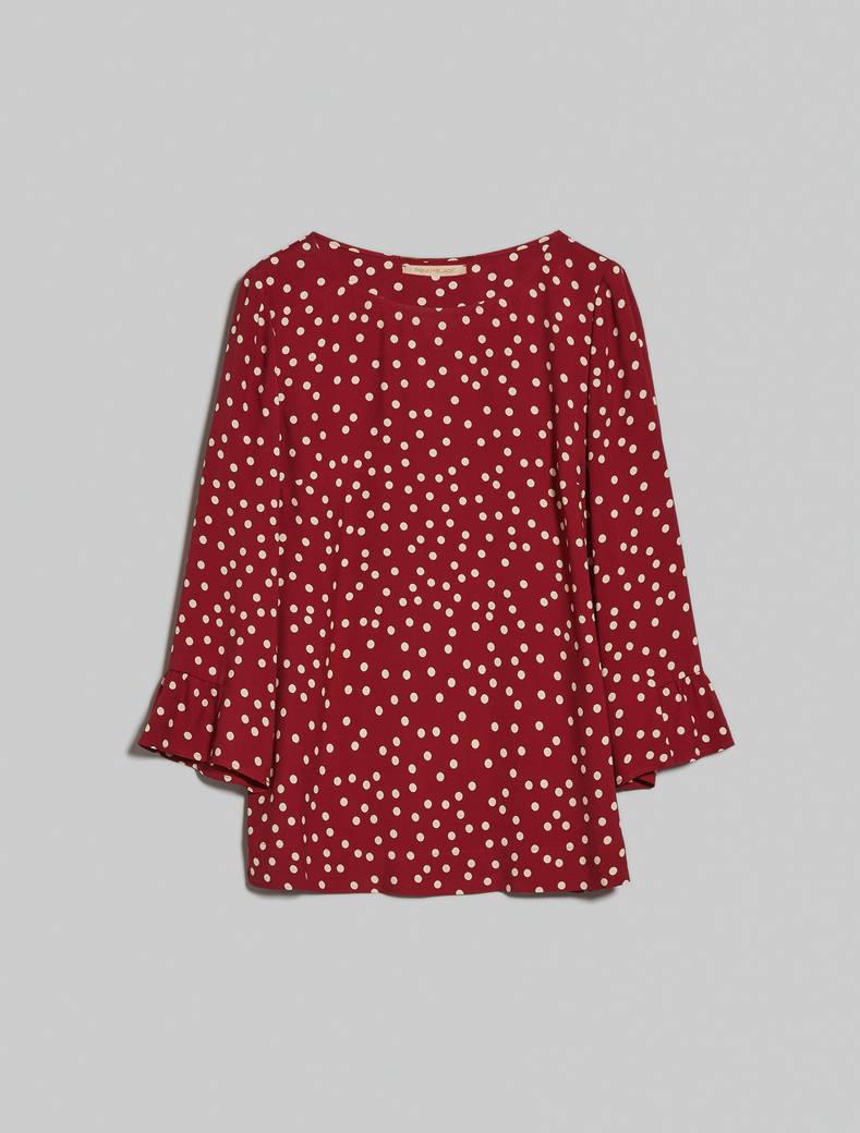Polka dot sablé blouse - burgundy pattern - pennyblack