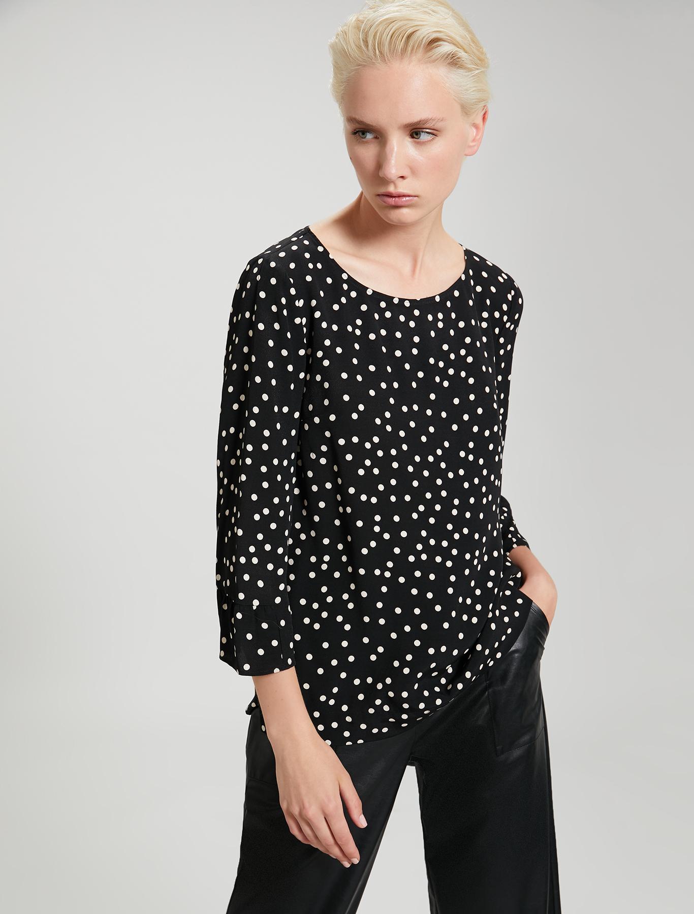 Polka dot sablé blouse - black pattern - pennyblack