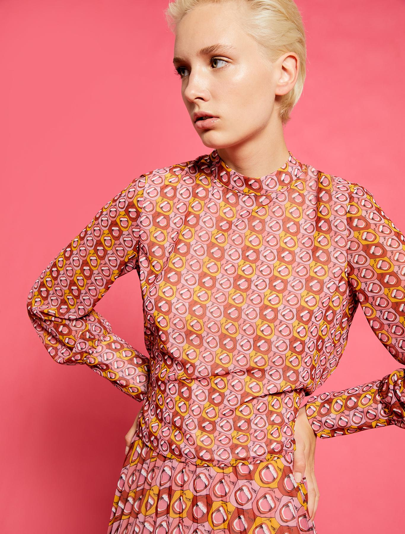 Electric Feel by Spiros Halaris Georgette blouse - coral pattern - pennyblack
