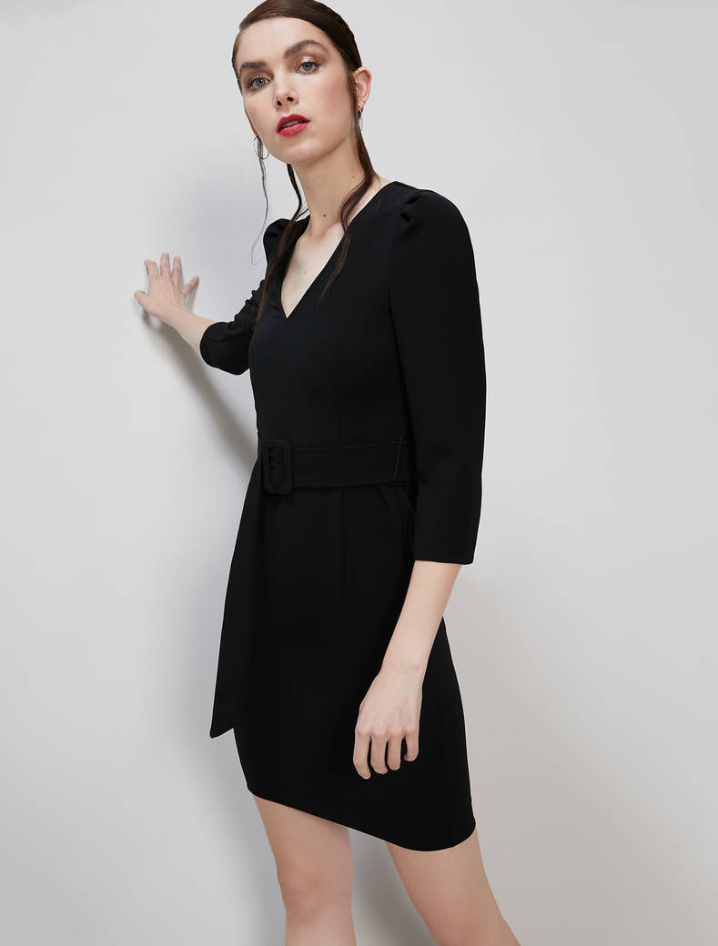 Puff-sleeved sheath dress - black - pennyblack
