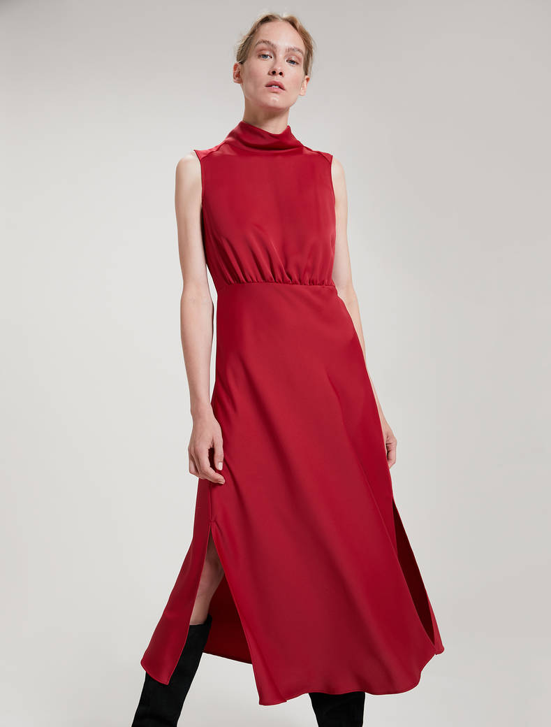 Envers satin dress - burgundy - pennyblack