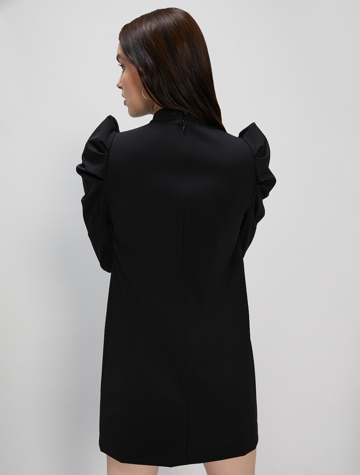 Dress with puff sleeves - black - pennyblack