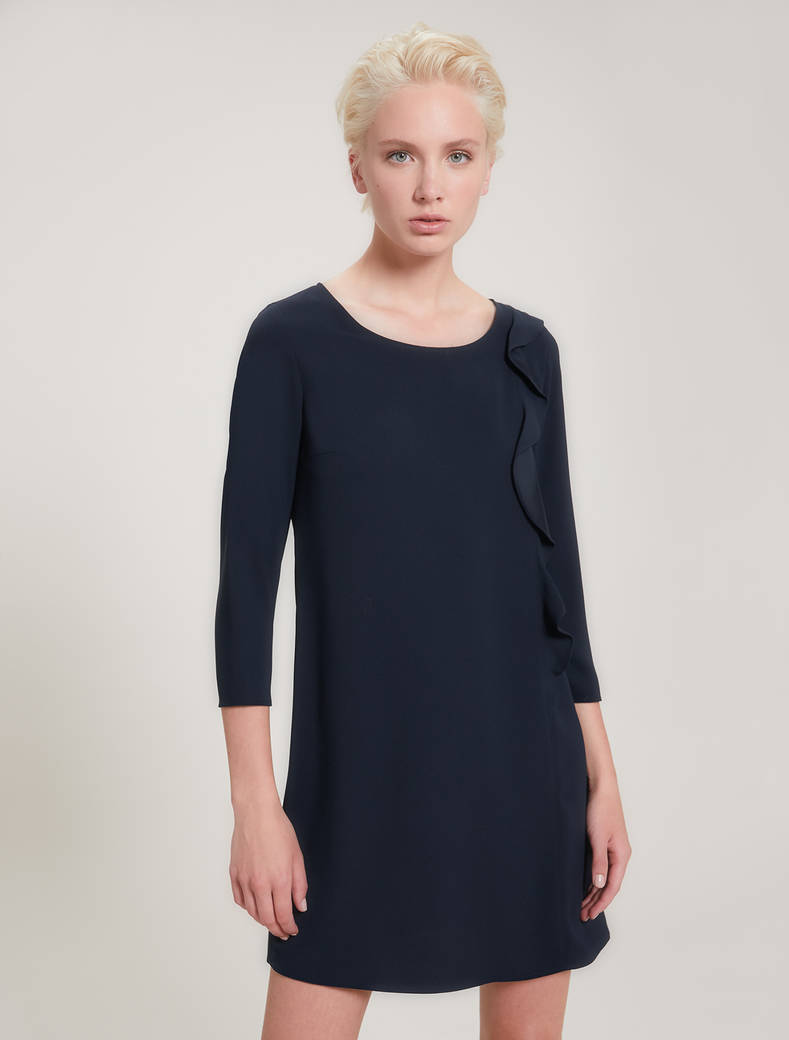 Envers satin dress with flounce - navy blue - pennyblack